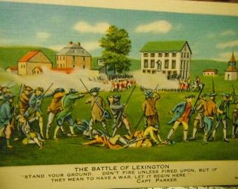 Vintage Colorized Historical Postcard - The Battle of Lexington - American Revolution - Unused