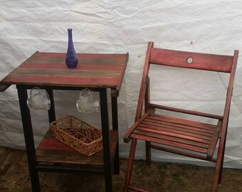 Repurposed and Upcycled Reclaimed Wood and Metal Bistro set or Coffee and tea breakfast side table set
