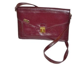 60s vintage envelope purse  oxblood burgundy  Lather Shoulder Bag messenger shoulder bag,  satchel structured bag made in Italy