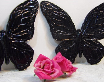 Vintage Black Butterflies Nursery Girls Room Homco Syroco Hollywood Regency