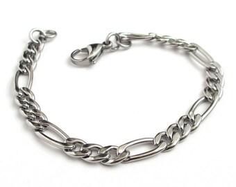 Figaro chain bracelet, 6mm stainless steel bracelet, men's chain bracelet, women's steel chain bracelet, figaro chain jewelry