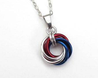 Red, white and blue Love Knot chainmail pendant, USA patriotic jewelry