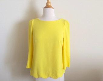Vintage Scallop Sunshine Yellow Top