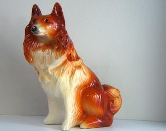Vintage Chalkware Lassie / Collie Dog Bank