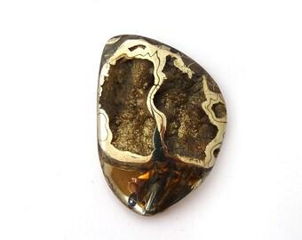Ammonite with Pyrite Designer Cab Gemstone 32.9x45.7x8.8 mm 115.5 carats Free Shipping