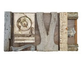 reclaimed wood, love sign wood, assemblage art, architectural salvage, typography letters L O V E original art by Elizabeth Rosen