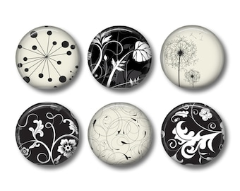 Pinback button badges or fridge magnets Nature in black and white