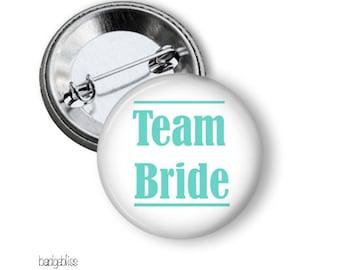 Team Bride pinback button badges, hens party pinback badges, badge party favours