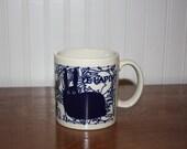 Coffee Mug, Vintage 70s Taylor and Ng La Lapin Naughty Rabbits– Dark Blue – French Farm Animals