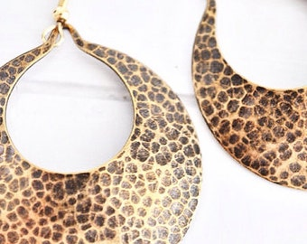 Hammered Open Circle Earrings Gold Disc Earrings Animal Print