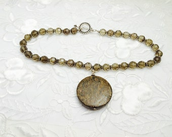 Vintage Natural Stone Pendant Matching Necklace, Sterling Silver, Round Crystals, HALF OFF Sale, Item No. B256