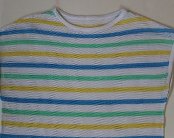 Vintage Mesh Top pastel stripe Yellow  String Beach Coverup- Fishnet Tee kitsch Net T-shirt- stripey striped mint Stretchy -Small Medium 38