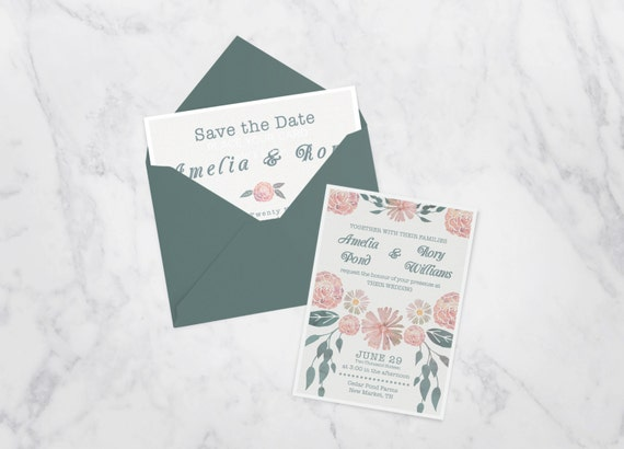 Boho Chic Wedding Invitations: Boho Chic Wedding Invitation, Botanical Wedding Invite Set