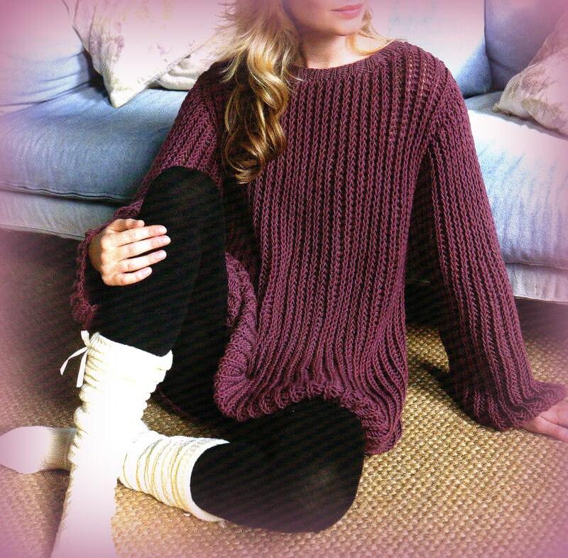 PDF Knitting Pattern for Ladies Sloppy Joe Aran Jumper to Fit