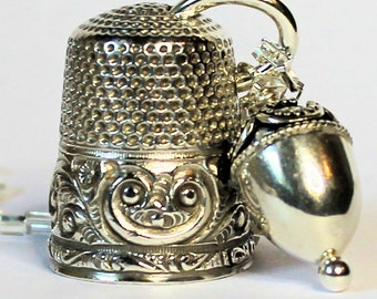Antique Thimble Peter Pan Thimble and Acorn Hidden Kisses Necklace Sterling Silver
