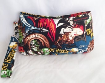 Monster, Mummy, Vampire, Horror, Old Hollywood, Movies, Purse, Bag, Wristlet, Handbag, Pouch, Clutch, Zipper Pouch