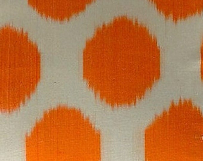 Sale! Orange Polka Dot Ikat Fabric, Ikat Fabric, Ikat Fabric by the yard, Hand Woven Fabric , F-A312