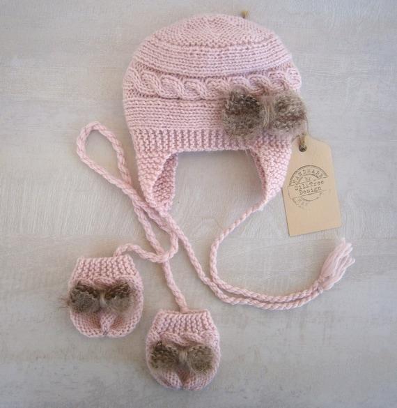 Knitting Patterns Childrens Hats Mittens : Knit Baby Mittens Hats Set Children Hat Mittens by PrettyBagsByMia