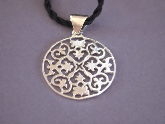 Cut Out Disk Pendant, Sterling Silver Ornate Necklace, Filigree, Ornamental, comes with sterling silver chain or satin cord