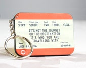 Personalised Keyring, Train Ticket, Keychain, Personalised Gift, Keyring, Valentine's Day Gift, Anniversary Gift, Travel Quote, Love Quote