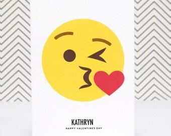 Emoji Valentines Card, Emoji Card, Kiss, Blow a Kiss, Emoji Kiss, Emoticon, Personalised Valentine Card, Valentines Day Card, Love, Emoji