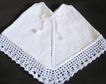 knitted christening gown, knit and crochet baptism white garment, unisex baby poncho