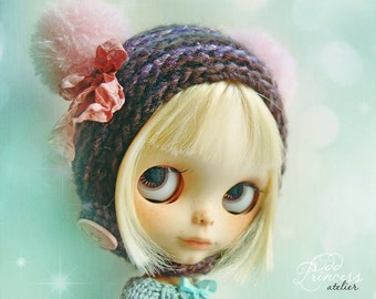 Blythe Helmet SWEET BEAR Violet By Odd Princess Atelier, Hand Knitted, Winter Collection, Made To Order