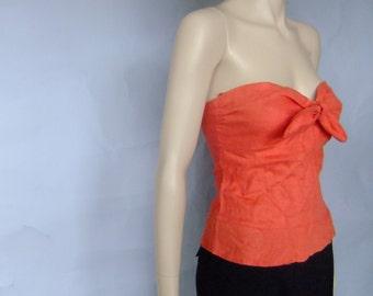 orange strapless top, linen tube top, bustier, 90s vintage