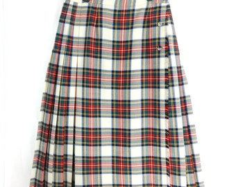 Plaid Skirt, tartan, wool, white, green and red, size large, ladies, woman's, marked size 12, Macaire
