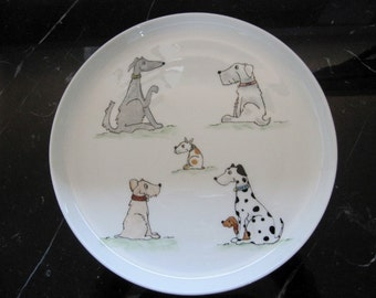 hand pained bone china dog plate