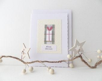 Arty Happy Christmas Card, Tall White Present and Plaid, 3D Original, OOAK, Lisa Davis Card Art.