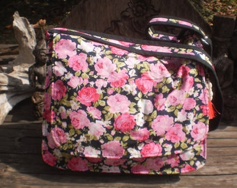 Flower Print Messenger Bag
