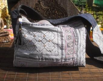Hmong Vintage Indigo Batik Bag, Handmade Up cycled Messenger Bag, Batik Bag, Batik Shoulder Bag