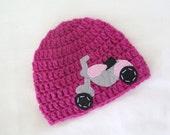 Motorcycle Girl Hat, Biker Girl Hat, Crochet Baby Hat, Motorcycle Hat, Baby Girl Beanie,  Baby to Teen, Crochet Girl Hat, Baby Beanie
