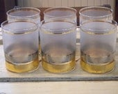 Set of Six Vintage Signed CULVER Regency Frosted Gold and Silver Banded Double Old Fashion  GLASSES