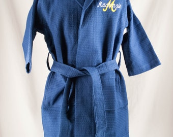 Personalized Child's Navy Blue Robe, Kid's Spa Waffle Robe Monogrammed, Embroidered Child's Robe, Ring Bearer Gift, Pool Cover Up, Bath Robe