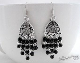 Black Chandelier earrings, birthstone earrings, Onyx earrings, bohemian earrings, gypsy earrings, boho dangles, hippie earrings goth dangles