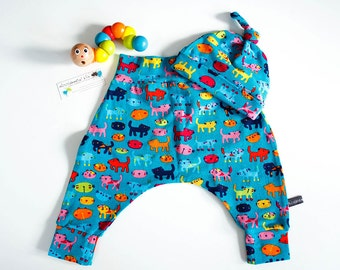 Baby harem pants & hat set, cats, 0-3 months
