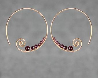 14k rose gold filled garnet wiring scroll hoop earring handmade US freeshipping Anni Designs
