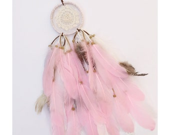 "4"" Pink Doily Feather Dreamcatcher"