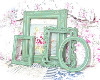 SALE SALE SALE Shabby Vintage Simply Sage Green Distressed Ornate Carved Gesso Picture Photo Frames Set 4 Cottage Chic