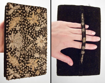 Embroidered INDIAN Clutch 1960s Black Velvet Bronze + Gold Bullion Sparkle Thread