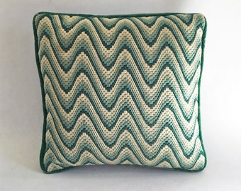 Green Flame Stitch Bargello Pillow, Velvet Backing, Zip Closure
