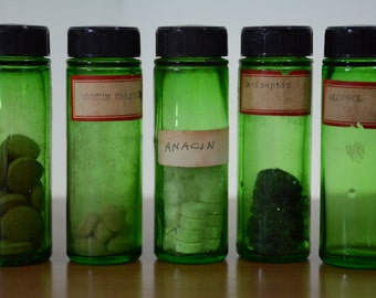 5 Emerald Green 1940's Medicine Bottle with DuroMaster Leather Holder