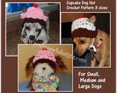 Instant Download Crochet Pattern - Cupcake Dog Dog Hat - 3 sizes - For Small, Medium and large Dogs