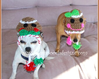 Gingerbread Dog Hat - Instant Download Crochet Pattern