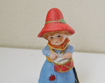 Vintage Jasco Merri-Bells Christmas Bell Little Drummer Boy Porcelain Figurine  Red  Blue Ornament Porcelain Bisque