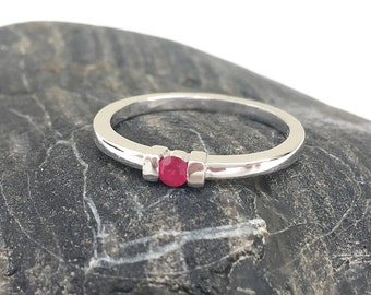 Red Ruby Ring, Ruby Solitaire Birthstone Ring, Genuine Ruby Jewelry, Red Gemstone, July Birthstone Ring, July Gemstone, Birthstone Jewelry