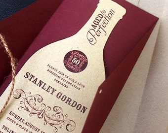 Wine Bottle Invitation | Wine Invitation | Wine Themed Invitation | 50th Birthday Invite | Adult Invitation | Vineyard Party Invitation