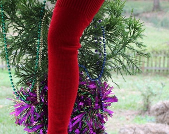 Red Plus Size Leg Warmers 27 inches